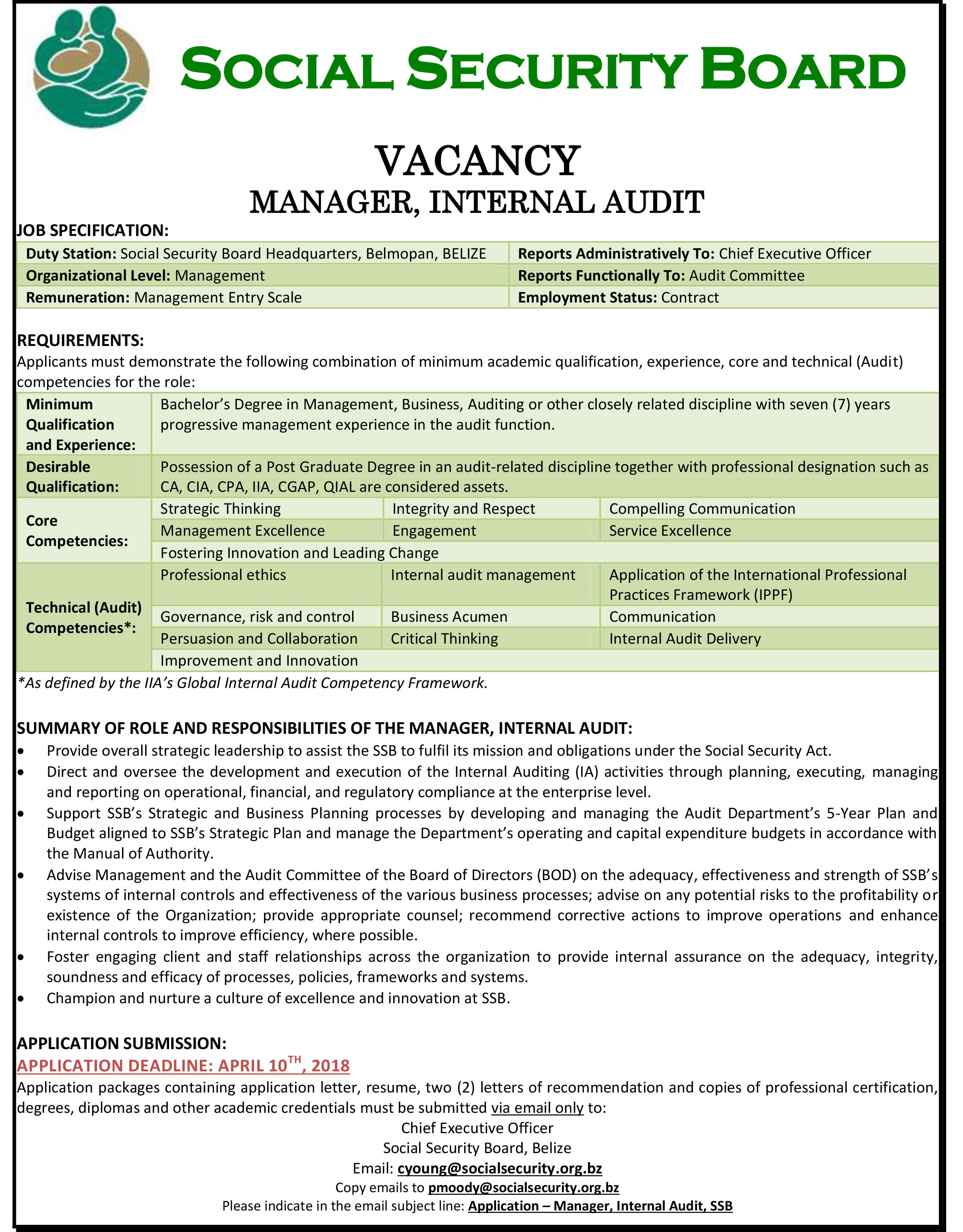 Vacancy announcements